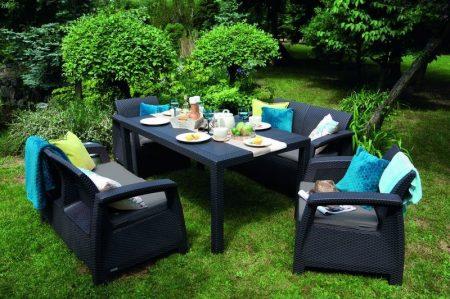 ALLIBERT Corfu Fiesta műrattan kerti bútor szett szürke -18%!!!