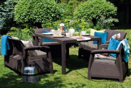 ALLIBERT Corfu Fiesta műrattan kerti bútor szett barna -18%!!!