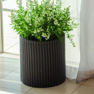 KETER Medium cylinder planter műrattan virágtartó -20%!!!