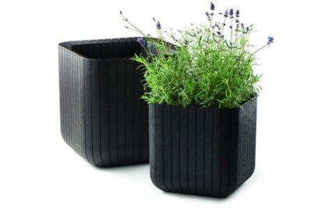 KETER Large cube planter fa hatású műanyag virágtartó -28%!!!