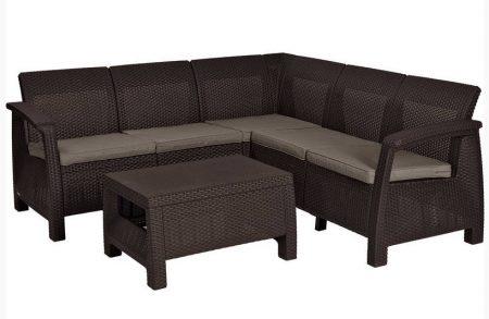 ALLIBERT Corfu Relax műrattan kerti bútor szett barna -30%!!