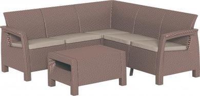 ALLIBERT Corfu Relax műrattan kerti bútor szett cappuccino-30%!!