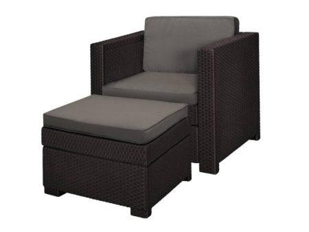 Curver Provence Chillout Set kerti fotel lábtartóval barna-15%!!