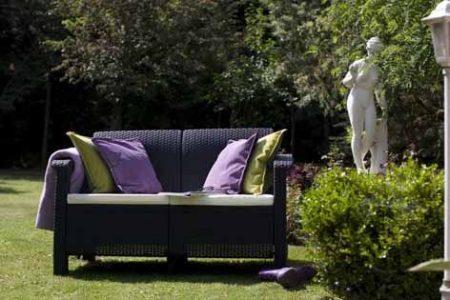 ALLIBERT Corfu Love Seat műrattan kanapé 2 személyes szürke -13%!!!