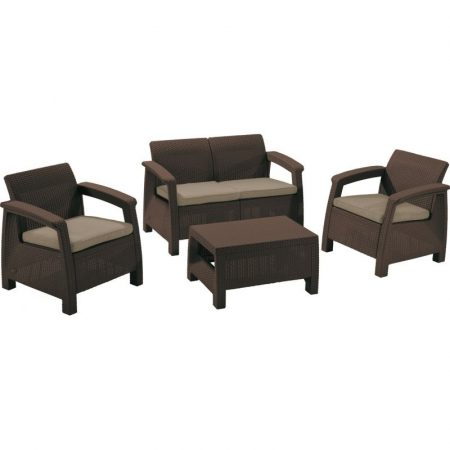 ALLIBERT Corfu műrattan kerti bútor szett barna -15%!!!