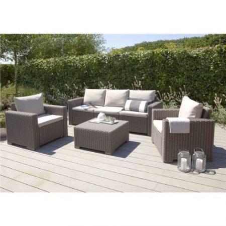 ALLIBERT California műrattan kerti bútor szett 4 részes 3 személyes kanapéval Cappuccino -38%!!!