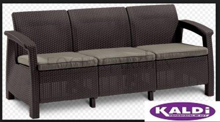 ALLIBERT Corfu Love Seat Max műrattan kanapé 3 személyes barna -15%!!!